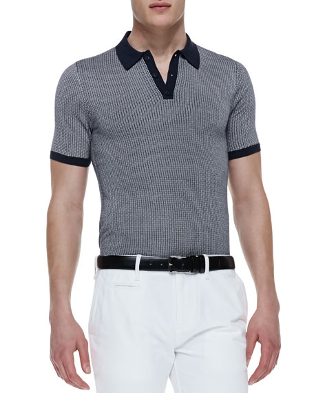 Pattern Silk-Knit Polo Shirt, Navy
