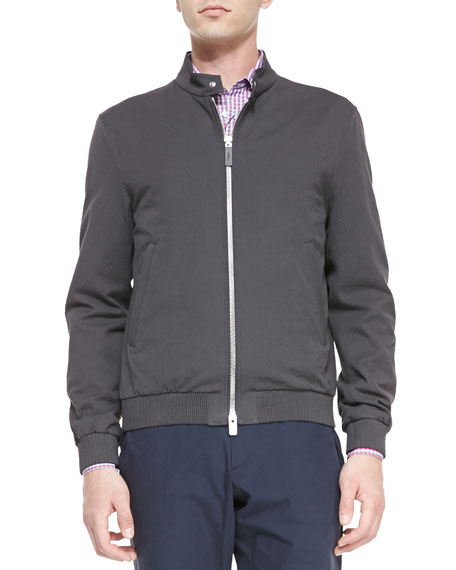 Lightweight Cotton Blouson Jacket, Dark Gray