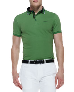 Burberry London Short-Sleeve Polo Shirt, Green Grass