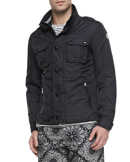 Moncler Mate Nylon Field Jacket, Black