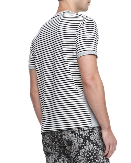 Striped Short-Sleeve Tee, Black/White