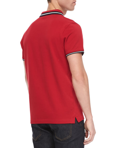 Pique Tipped Polo, Red