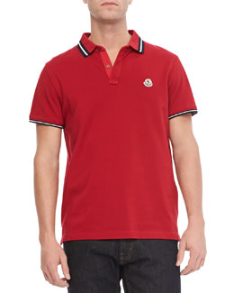 Moncler Pique Tipped Polo, Red