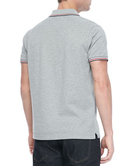 Pique Tipped Polo, Gray
