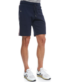 Moncler Web-Detail Track Shorts, Navy