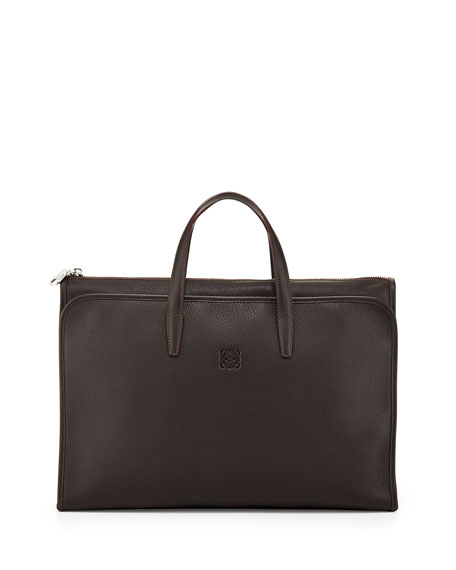 Toledo Briefcase with Pocket, Brown