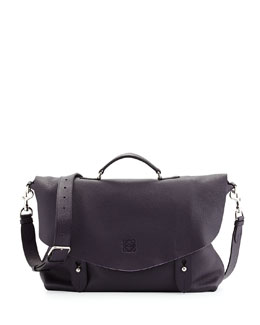 Loewe Men's Lorca Leather Satchel Briefcase, Plum