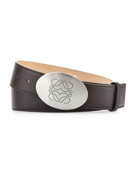 Perf-Anagram-Buckle Belt, Brown