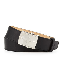 Loewe Bruce Men's Logo-Plaque Belt, Black