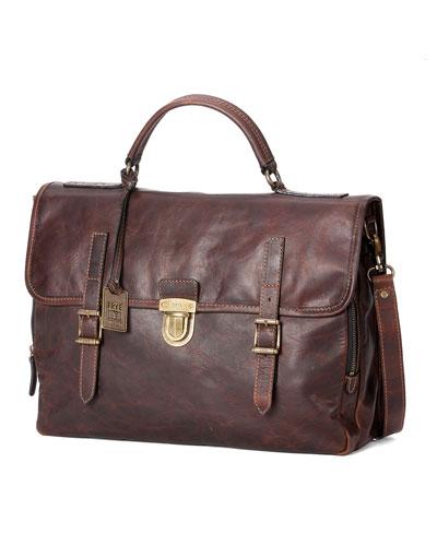 Logan Buckled Briefcase, Dark Brown