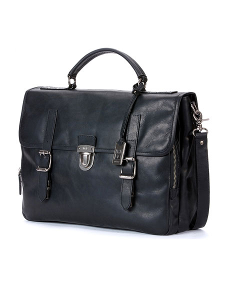Frye Logan Buckled Briefcase, Black