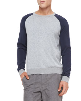 Rag & Bone Milo Raglan Long-Sleeve Tee, Light Gray