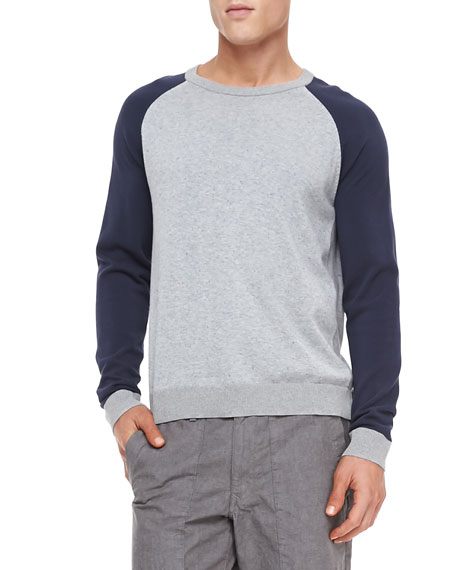 Milo Raglan Long-Sleeve Tee, Light Gray