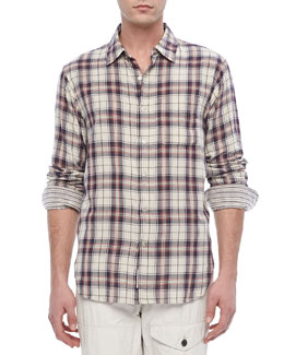 Rag & Bone Plaid Beach Shirt, Navy/White