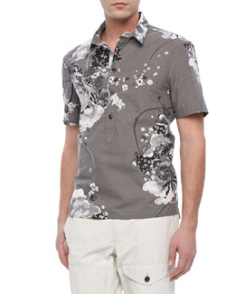 Rag & Bone Sussex Floral-Print Polo, Gray