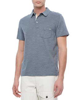 Rag & Bone Moulinex Chest-Pocket Polo, Light Blue
