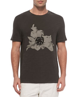 Rag & Bone Short Sleeve Flower Tee, Light Black