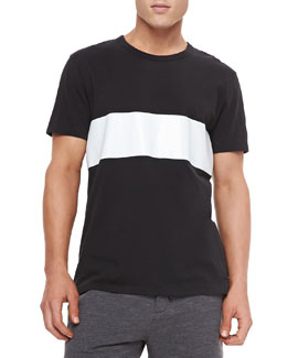 Rag & Bone Printed Stripe Tee, Black