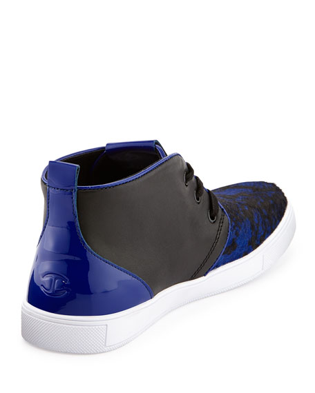 Python Printed Calf-Hair High-Top Sneaker, Blue