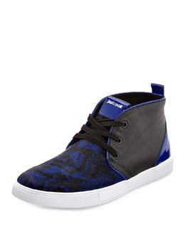Just Cavalli Python Printed Calf-Hair High-Top Sneaker, Blue