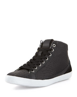 Just Cavalli Men's Python-Print Leather High-Top Sneakers, Black