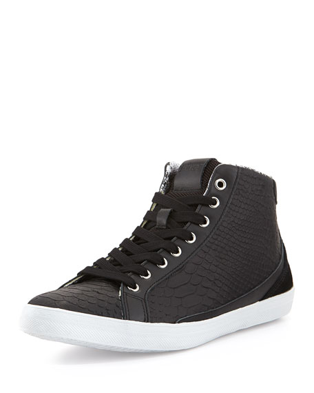 Men's Python-Print Leather High-Top Sneakers, Black