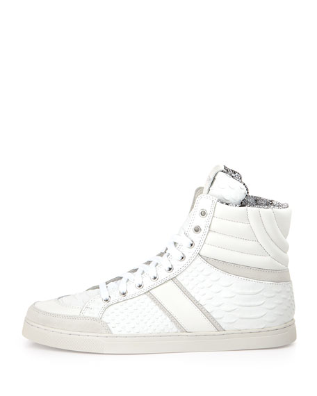 Men's Textured Python-Print Leather High-Top Sneaker, White