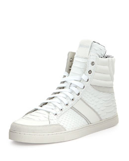 Just Cavalli Men's Textured Python-Print Leather High-Top Sneaker, White