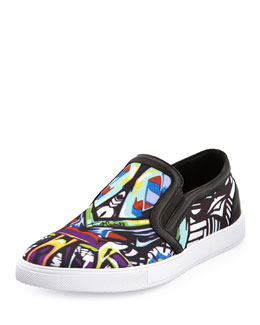 Just Cavalli Miami Printed Slip-On Skate Shoe, Multi