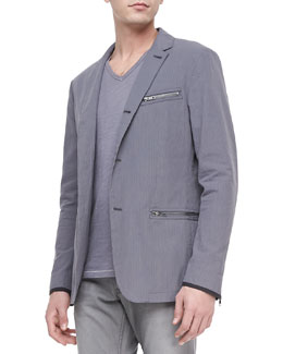John Varvatos Star USA Three-Button Zip Sport Coat, Dry Lavender