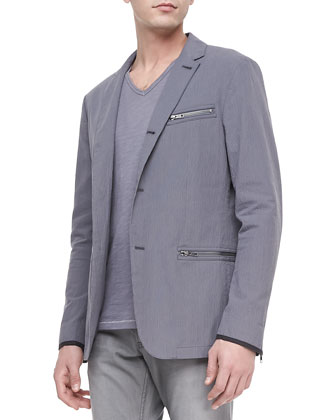 Three-Button Zip Sport Coat, Dry Lavender