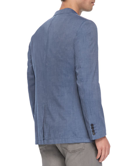 Two-Button Peaked Lapel Jacket, Blue
