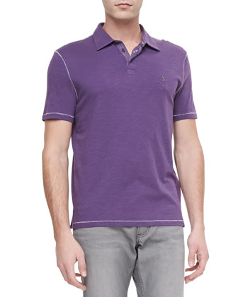 Soft-Collar Peace Sign Polo, Violet