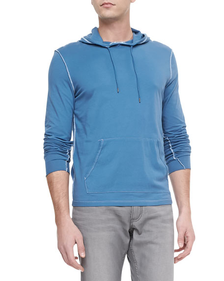 Combed-Cotton Pullover Hoodie, Blue Topaz