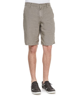 John Varvatos Star USA Triple-Needle Linen Shorts, Kalamata