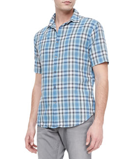 John Varvatos Star USA Plaid Short-Sleeve Shirt, Blue