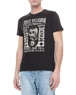 "True Religion ""Oildale Music Fest"" Printed Tee, Black"