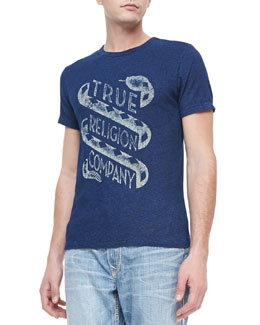True Religion Washed Crewneck Logo Tee, Indigo