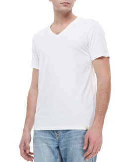 True Religion V-Neck Jersey Tee, White