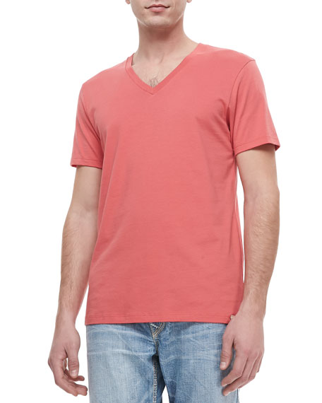 V-Neck Jersey Tee, Coral