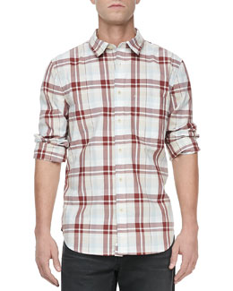 7 For All Mankind Oversized-Plaid Long-Sleeve Shirt, Stone/Brick