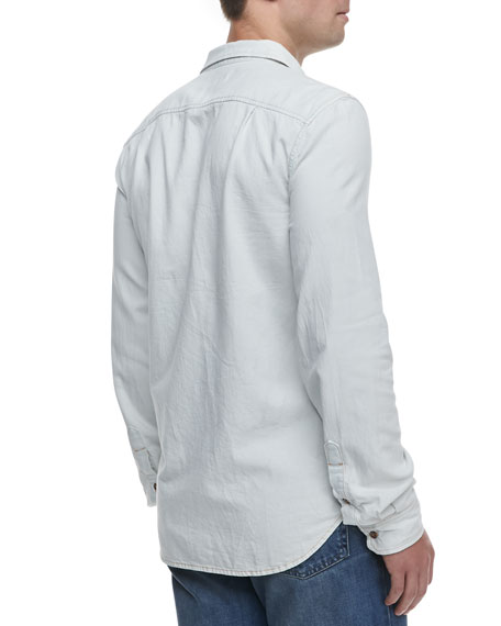 Bleached Denim Shirt, White