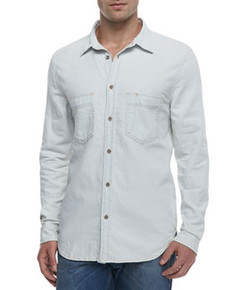 7 For All Mankind Bleached Denim Shirt, White
