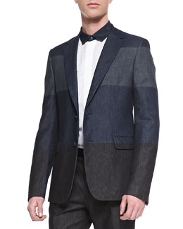 Valentino Colorblock Denim Sport Coat, Navy