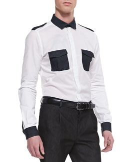 Valentino Denim-Trimmed Long-Sleeve Shirt, White