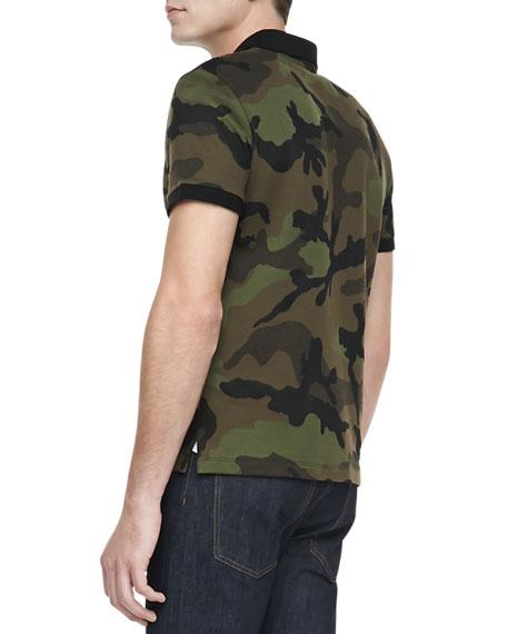 Camo-Print Short-Sleeve Polo, Green/Brown