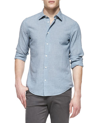 Striped Linen-Blend Shirt, Light Blue