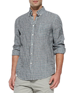 Vince Check Button-Down Linen Shirt, Teal