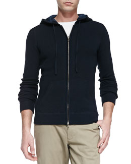 Vince Thermal Zip-Front Hoodie, Cream/Navy
