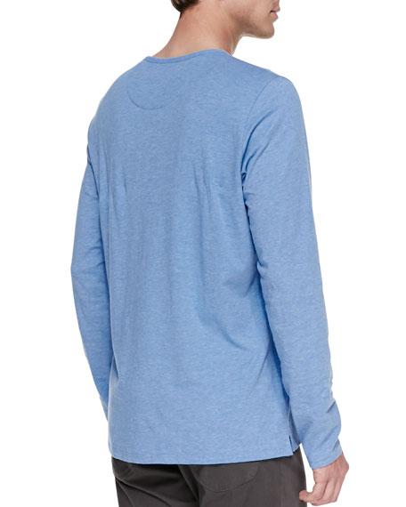 Melange-Knit Long-Sleeve Henley, Light Blue